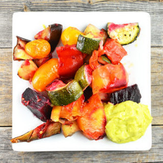 Roasted Vegetables With Tangy Avocado Dressing