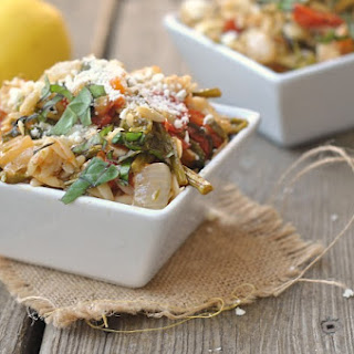 Lemon Garlic Orzo with Roasted Vegetables.