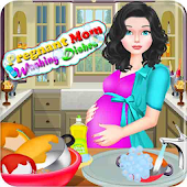 Pregnant Mom Washing Dishes