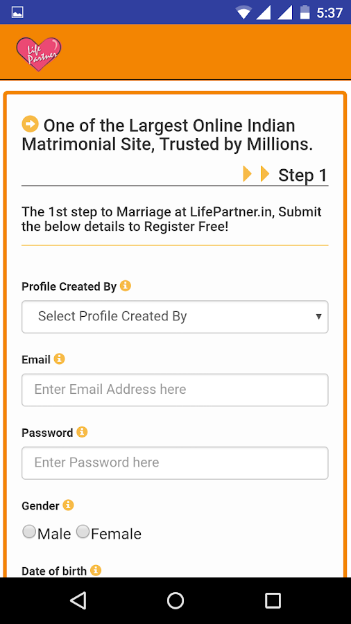 LifePartner.in Matrimony App- screenshot