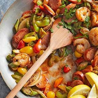 Cajun Shrimp and Sausage Stir-Fry.