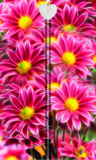 3D Pink Flowers Zipper UnLock