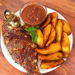 Grilled Fish, Plantain and Pepper Sauce.