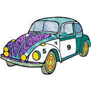 Classic Cars Paint by Number: Glitter + Color Book