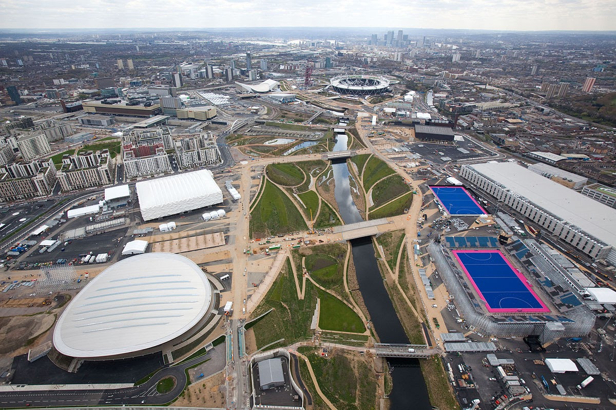 Olympic Park with the River Lea in 2012, before the Singing Organ-Grinder arrived.