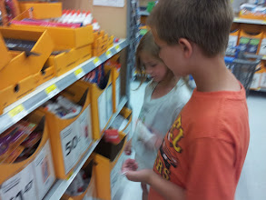 Photo: Mister Man loved searching through the items to find just what he thought Mrs. J would most want.