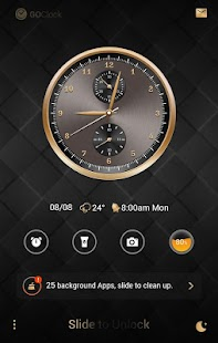 Luxurious Gold GO Clock Theme - náhled