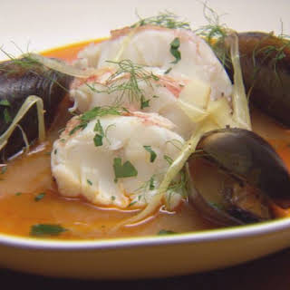 Lobster Medallions with Seafood Broth.