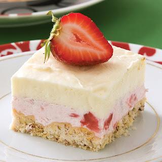 Frozen White Chocolate–Strawberry Squares.