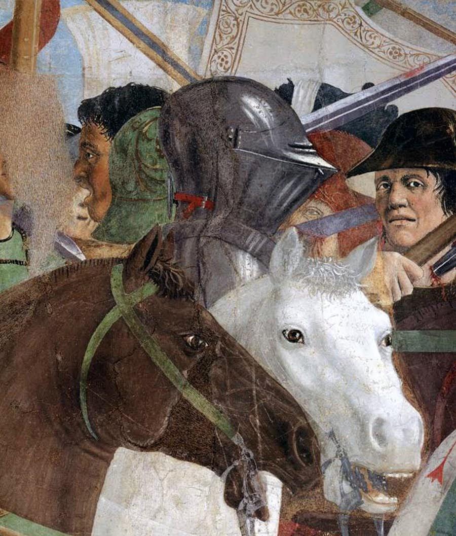 Piero della Francesca,Battaglia di Eraclio e Cosroè, affresco (dettaglio soldati), Basilica di San Francesco, Arezzo