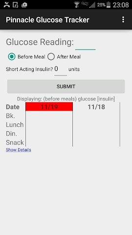 android Pinnacle Glucose Tracker Screenshot 0