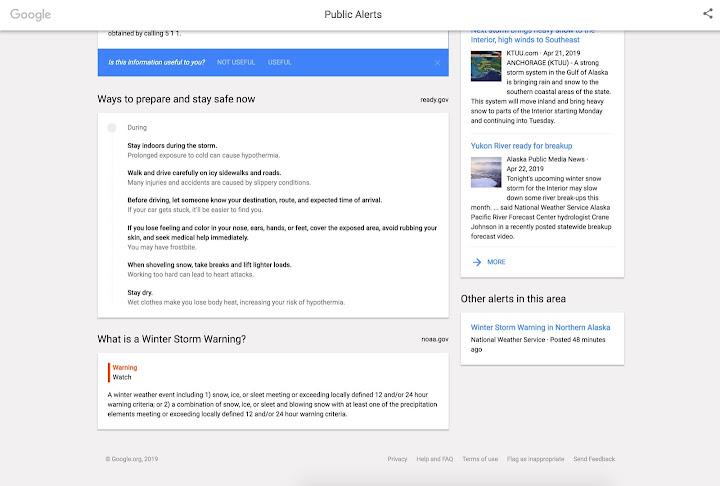 Google Public alerts details page.