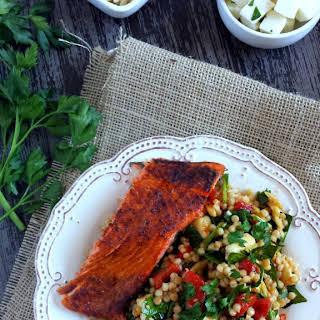 Israeli Couscous Salad with Smoked Paprika & Salmon.