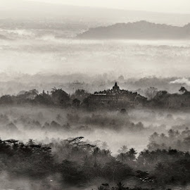 Far Far Away Land by Miko Adji - Black & White Landscapes ( temple, yogyakarta, fog, black and white, indonesia, punthuk setumbu, sunrise, landscape, paradise, borobudur )