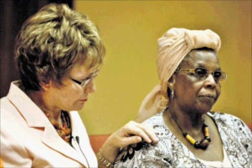 OFFERING SUPPORT: Western Cape premier Helen Zille with Florence Gontsana, mother of Nokwanele Gontsana, who went missing in Crawford seven years ago.Pic. MOEKETSI MOTICOE.  12/01/2010. © The Times.  Western Cape Premier Helen Zille with Florence Gontsana, mother of Nokwanele Gontsana, a young woman who went missing in Crawford seven years ago. The premier announced a reward for any information related to the missing girl. 12/01/2010 Picture: MOEKETSI MOTICOE  ------  SCAN 40CM WIDE PSE
