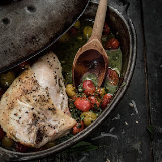 Oven Roasted Chicken Breasts with Tomatoes & Pesto