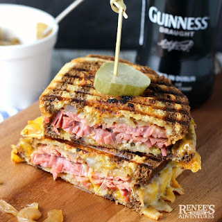 Corned Beef Panini with Caramelized Guinness Onions.