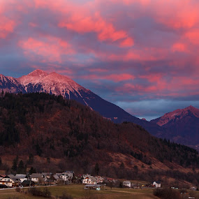 Mountain Stol at sunset by Boris Podlipnik - Landscapes Mountains & Hills ( clouds, mountains, red, sunset, colors, evening )