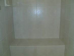 Photo: tiled shower seat shower surround
