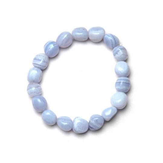 Blåbandagat trumlad liten sten armband