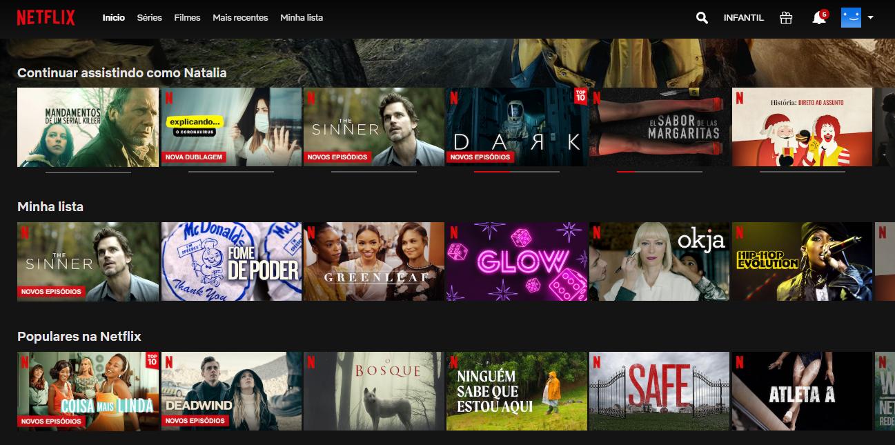 Personalização da experiência de usuiário - Exemplo página Netflix