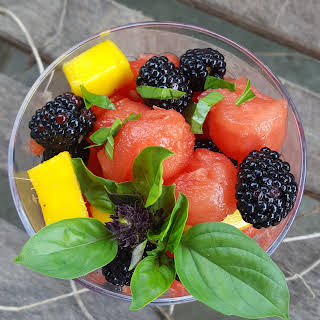 Watermelon Fruit Salad with Mango, Blackberries and Basil.