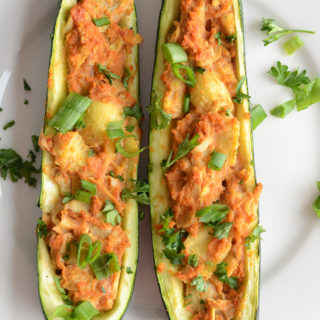 Vegan Twice Baked Stuffed Zucchini.