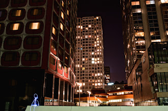 Photo: Another light painting shot in Paris, in the Beaugrenelle district. The light in the background comes from the Eiffel Tower. A small light character at the bottom of high towers.  http://en.wikipedia.org/wiki/Tour_Beaugrenelle #lightpainting