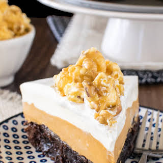 White Chocolate Caramel Mousse Brownie Cake.