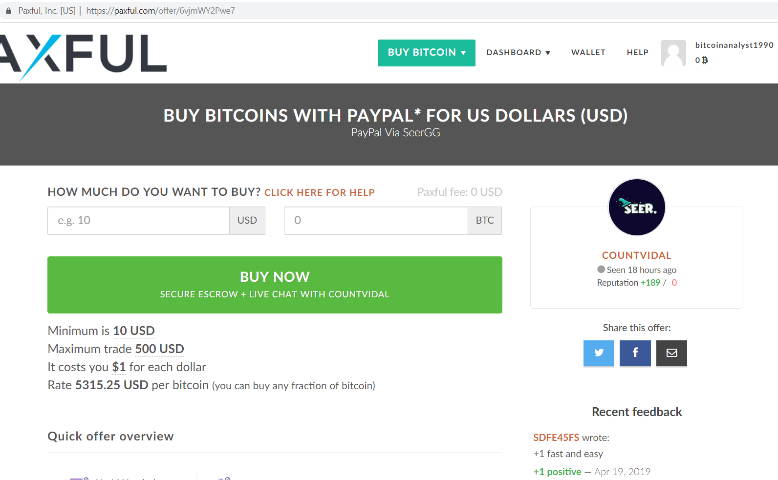 Paxful buy bitcoins with paypal form.
