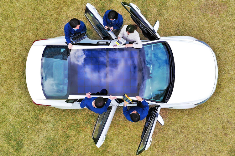 Solar roof panels on Hyundais and Kias will be able to charge up to 60% of a hybrid car battery on sunny days. Picture: SUPPLIED