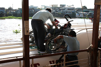 Photo: Year 2 Day 34 - Bikes Are Tied on to the Fast Boat to Phnom Penh