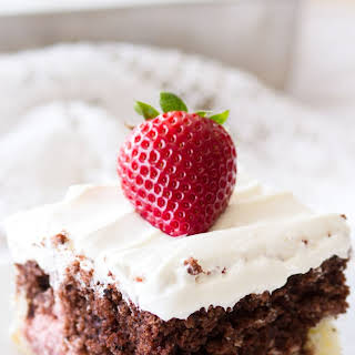 Neapolitan Sheet Cake with Whipped Cream Cheese Frosting.