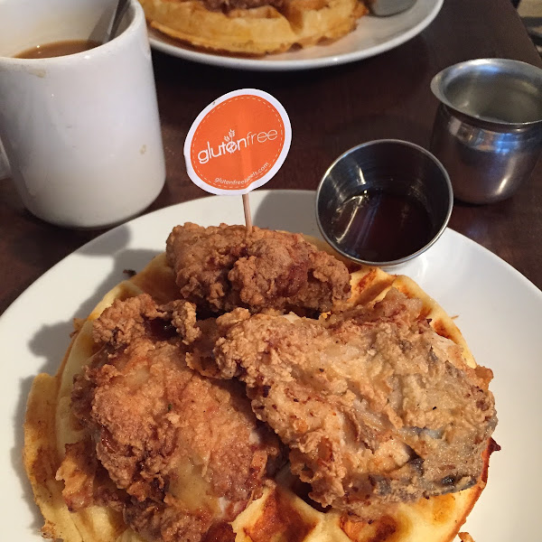They can make anything on the breakfast/brunch menu gluten free, they understand cross contamination and as you can see they flag gluten free meals. Delicious chicken and waffles!