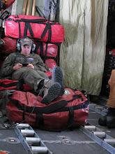 Photo: Matt aboard the C-130 on his way to Antarctica.