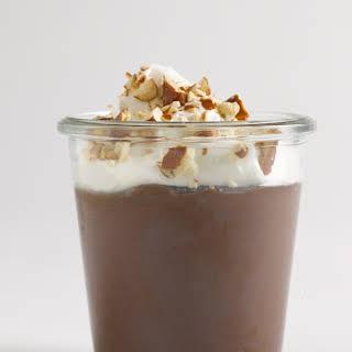 Dark Chocolate Pudding with Pretzels.