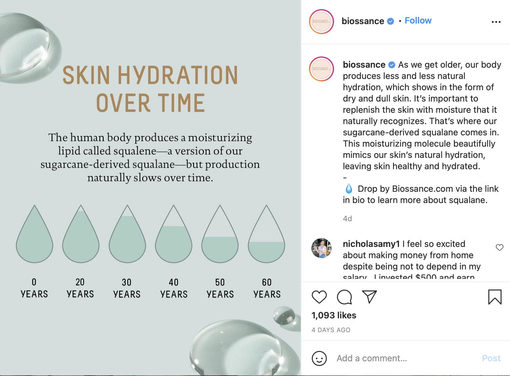 Biossance Instagram content for the awareness content marketing