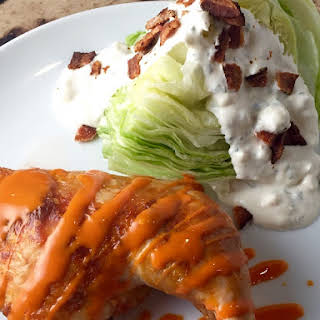 Buffalo Chicken with Iceberg Wedge and Homemade Blue Cheese Dressing.