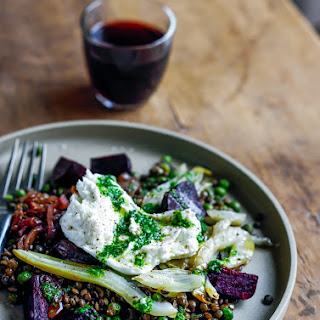 Warm Lentil, Beetroot and Fennel Salad with Herb Dressing