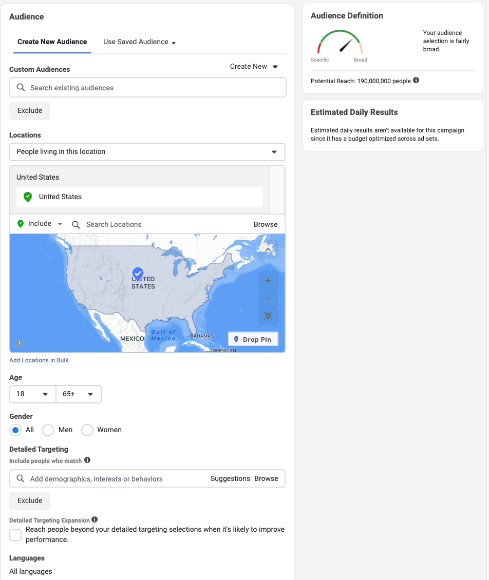 Setting up Audience Targeting in Facebook Ads Manager