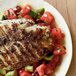 Grilled Grouper with Watermelon Salsa.