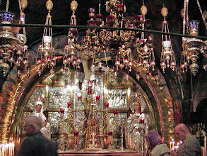 Photo: Up steps from the main floor is the Greek Orthodox church on the site of Golgotha where Jesus was crucified.