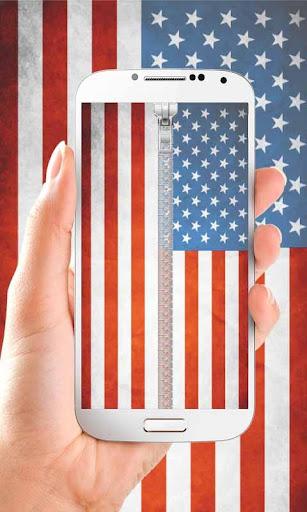 USA Flag Zipper Lock