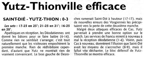 Photo: 07-11-10 L'arrivée de Nicole Siekmann à la passe change la donne et l'ASVB s'impose 0-3 à Saint-Dié