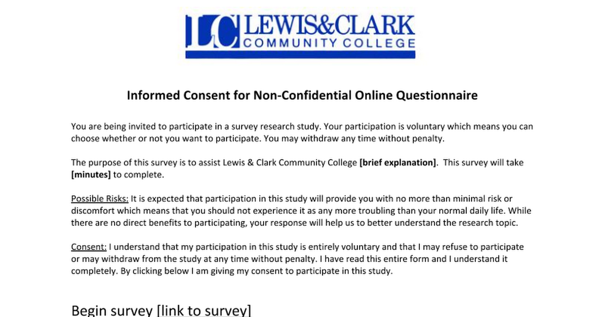 Informed Consent for NonConfidential Online Questionnaire – Survey Consent Form Template