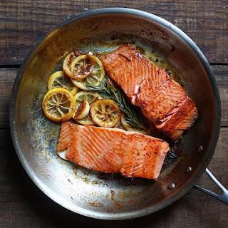 Pan Seared Salmon With Lemon, Garlic, And Rosemary.