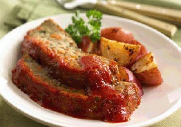 Italian Veggie Meatloaf with Roasted Potatoes Recipe