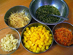 Photo: ingredients for pineapple noodle salad