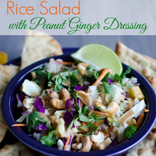 Rice Salad with Peanut Ginger Dressing.