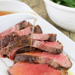 Roasted Beef Tenderloin with Garlic Brown Butter Sauce.